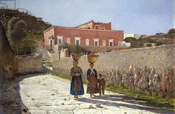 Red House in Portici, by Marco de Gregorio (1829-1876), Italy, 19th Century