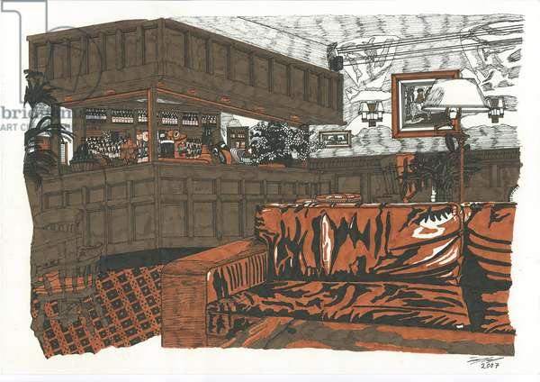 Bar at The Angel, 2007 (pen and ink on paper)