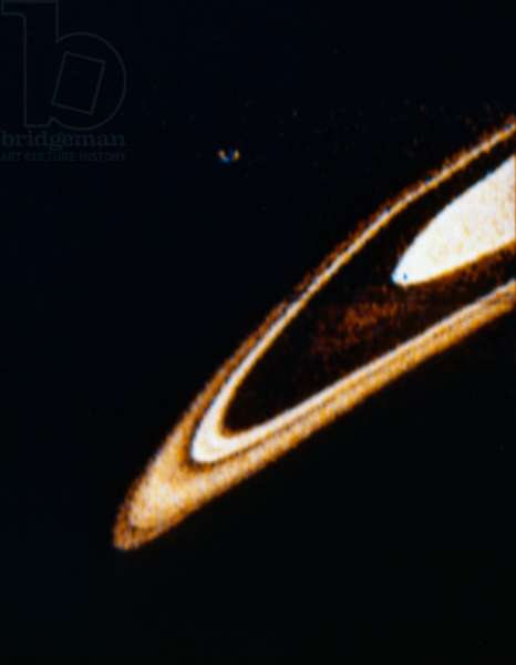 SATURN The planet Saturn, photographed from a NASA spacecraft, c.1979.