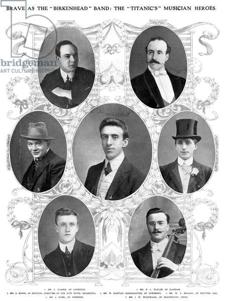 TITANIC: BAND, 1912 The band that played onboard the 'Titanic.' Photographs from an English newspaper of 1912.
