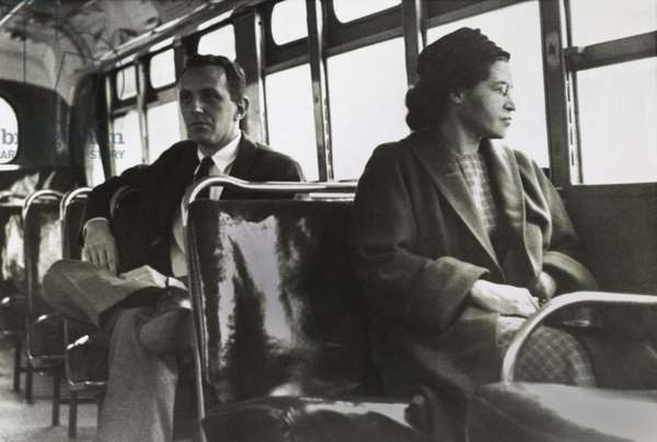 Mrs. Rosa Parks, 43, in a forward seat of a Montgomery, Alabama, bus on December 21, 1956. It was over a year earlier that the African American NAACP activist ignited off the Montgomery Bus Boycott on Dec. 1, 1955, by refusing to give her seat in the Negro section of the bus, to standing white passenger