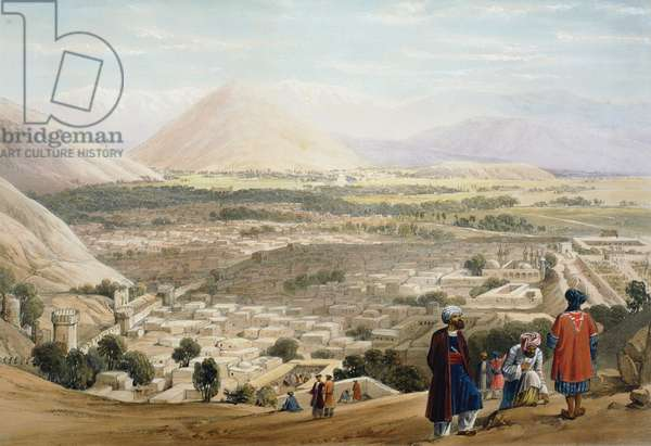 First Anglo-Afghan War 1838-1842: Cabul (Kabul) from Citadel, showing old walled city. British troops massacred here in first and second Anglo-Afghan Wars. From J Atkinson Sketches in Afghanistan London 1842. Hand-coloured lithograph.