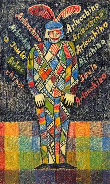 Arlecchino's (Harlequin) Solitude, 1980 (pastel on paper)