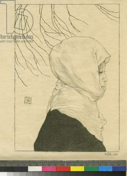 Japanese woman in winter clothes, 1901 (litho)