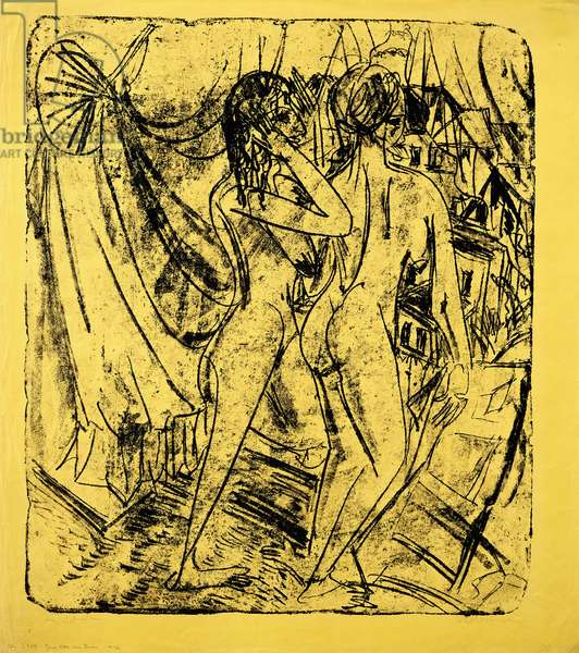 Two Nudes at the Window, 1915 (lithograph on canary-yellow wove paper)