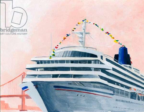 Passenger liner, 2016, (Acrylic paint on paper)