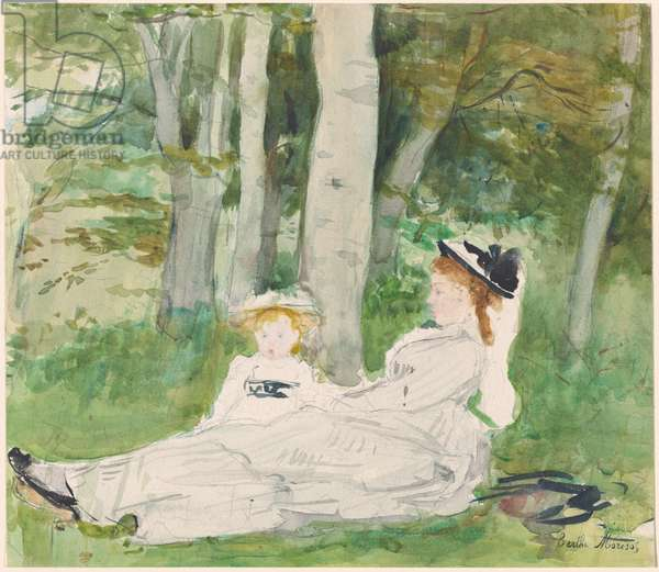 At the Edge of the Forest (Edma and Jeanne), c.1872 (w/c and graphite on paper)