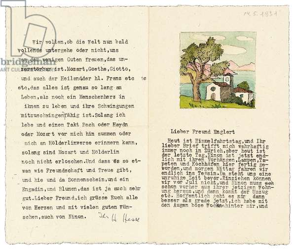 Letter from Hermann Hesse to Josef Englert, 14 May 1931 (typed with ink & watercolour image on card)