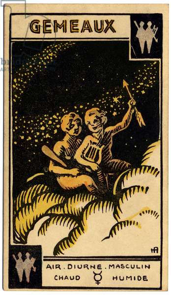 Paranormal. Astrology. Gemini (the Twins). Astrologic card from: Le Tarot Astrologique (Astrological Tarot), by Georges Muchery, France, 1927