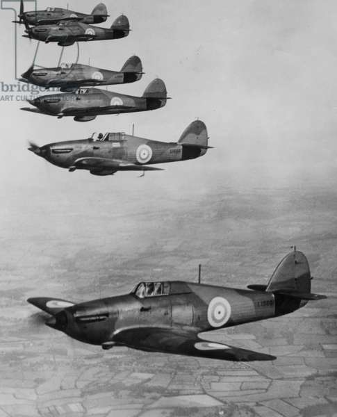 British fighter Hawker 'Hurricane', 1938 (b/w photo)