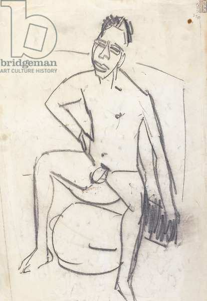 Sam the Negro (verso); Sam der Neger (verso), c.1905 (charcoal on paper)