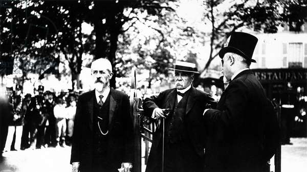 Georges Clemenceau and the prefect of police Lépine, Paris, 1908 (b/w photo)