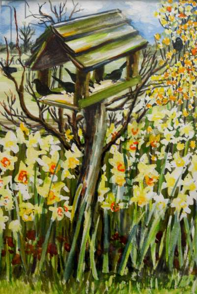 Daffodils, and Birds in the Birdhouse, 2000,(gouache)