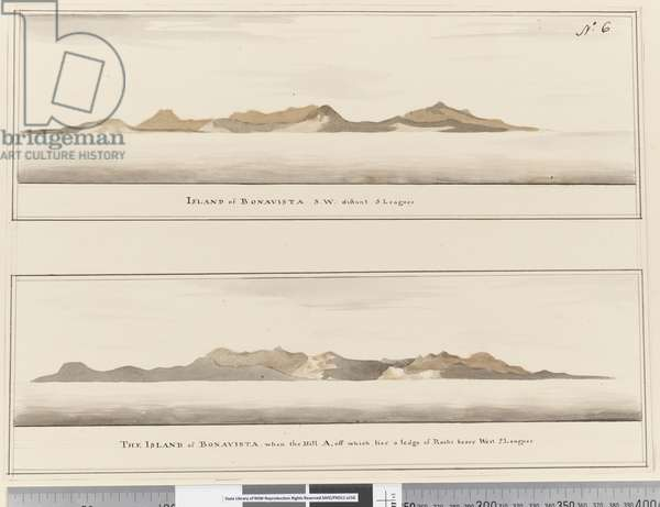 Page 6 Island of Bonavista: 2 Profiles. Titled: 'Island of Bonavista S.W. distant 5 leagues' and 'The Island of Bonavista when the hill A, off which lies a ledge of rocks bears west 2 leagues', 1768-75 (pen & ink and wash)