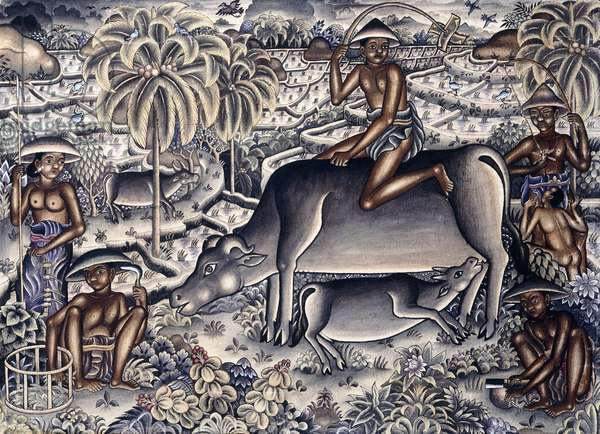 Fertile Bali (pen and black and tempera on cloth)