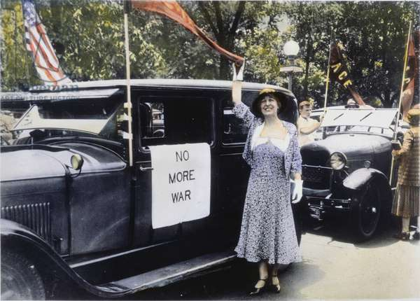 JEANNETTE RANKIN (1880-1973). American suffragist, pacifist, and legislator. Miss Rankin photographed in June 1932 before leaving on a speaking tour in support of the peace planks of the Democratic and Republican Party platforms.