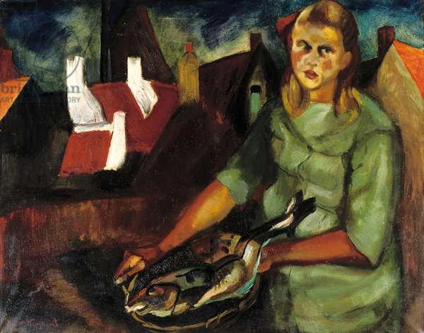 Girl with Haddock, Katwijk, c.1921-23 (oil on canvas)
