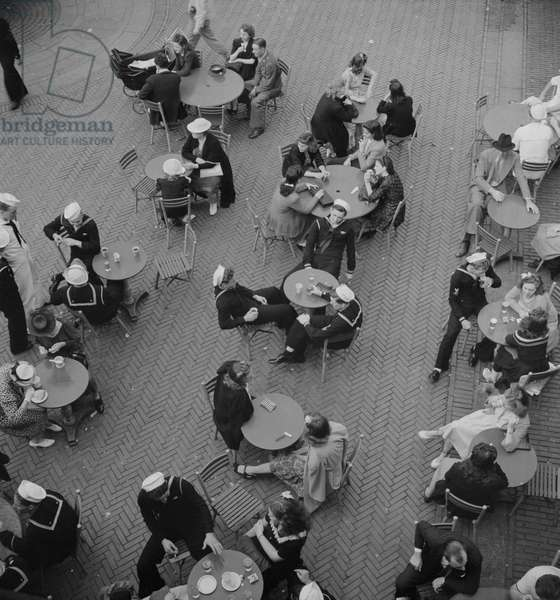 Sailors at the Mall Restaurant on Sunday, Central Park, New York City, New York, USA, Marjorie Collins for Office of War Information, August 1942