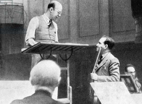Composer Sergey Prokofiev (left) and violinist David Oistrakh (right) rehearsing, 1938 (b/w photo)