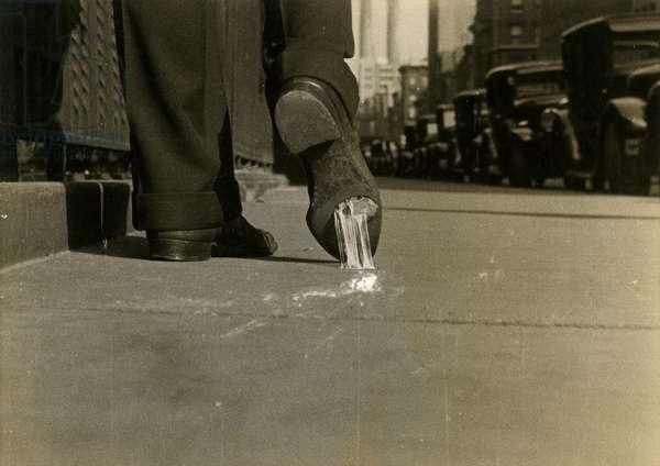 Gum on a Shoe, Park Ave. N.Y.C, New York, USA, c.1920-38 (gelatin silver photo)