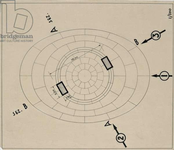 Project for a monument to general Julio A. Roca in Buenos Aires (Progetto per un Monumento al generale Julio A. Roca a Buenos Aires), 1936 (Indian ink on tracing paper)