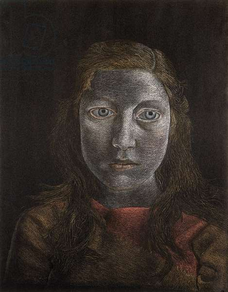 Head of a Girl with Red Hair, c.1948 (pastel on paper)