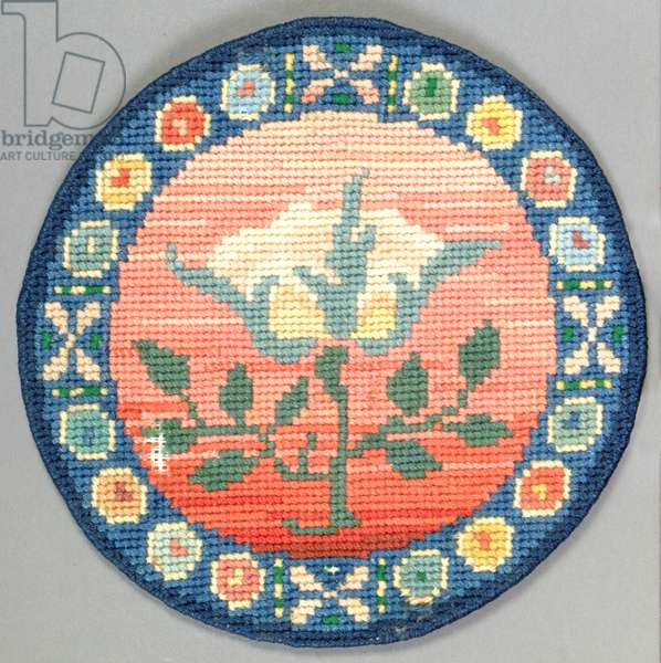 Rose table mat, 1910 (embroidery)