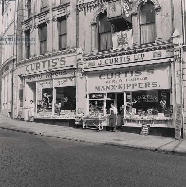 Curtis fish shops, Victoria Street, Douglas, Isle of Man, September 1959 (b/w photo)
