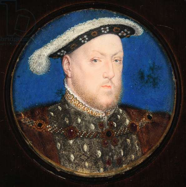 Henry VIII in a grey doublet and fur gown (w/c & bodycolour on vellum)