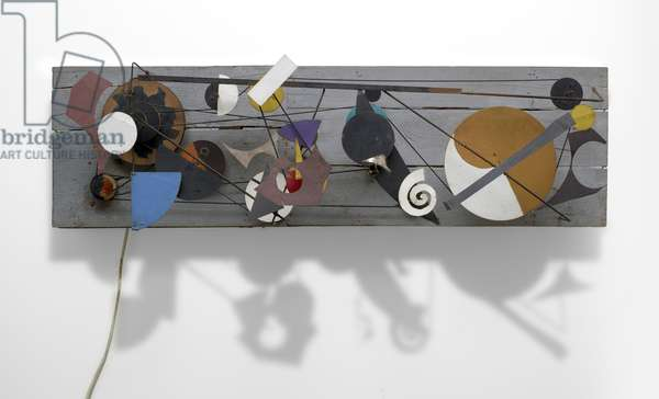 Méta-Kandinsky II, 1955 (wood panel, polychrome wood, metal, wood pulleys, round rubber belt & electric motor)