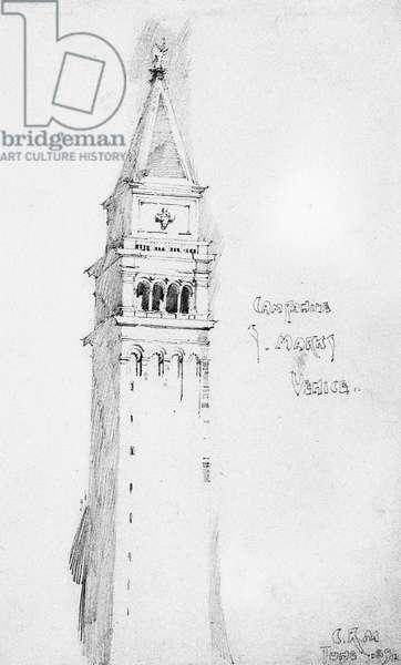 Campanile, S. Marks, Venice, 1891 (pencil on paper)