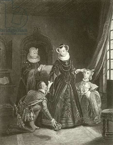 Mary Queen of Scots in Lochleven Castle (engraving)