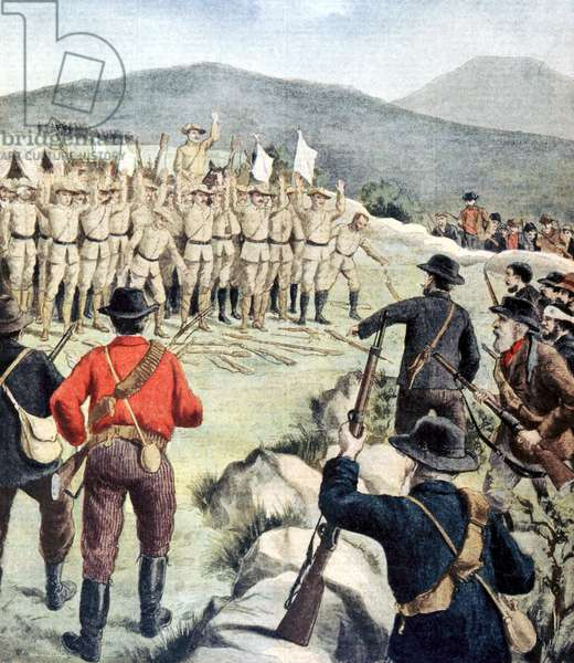 Boer War: 180 English soldiers surrendering to Boer forces at Doornbosch, Transvaal. From Le Petit Journal Paris 8 December 1901.