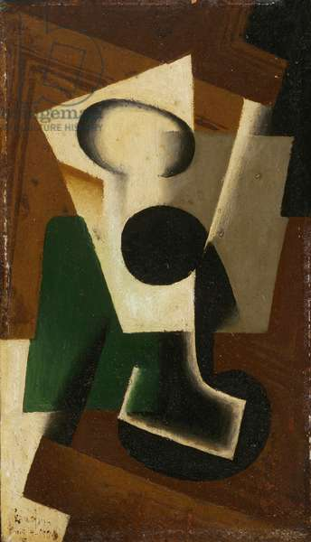 Still life with a glass, 1917 (oil on panel)