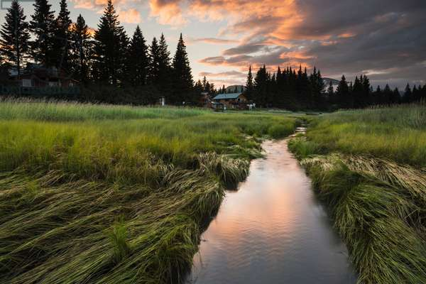 Sunset over a slough near the Silver Salmon Creek Lodge, Lake Clark National Park & Preserve, South-central Alaska (photo)