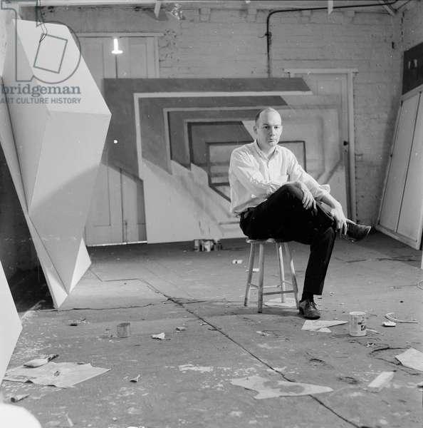 Portrait of the British artist Richard Smith, 1963 (b/w photo)