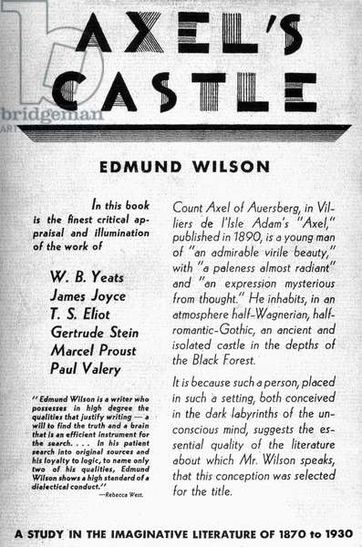 WILSON: AXEL'S CASTLE, 1931 Cover of the first edition of 'Axel's Castle,' Edmund Wilson's first work of literary criticism, published in 1931.
