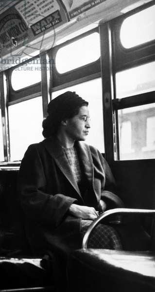 Rosa Parks sitting on a bus in Montgomery, Alabama