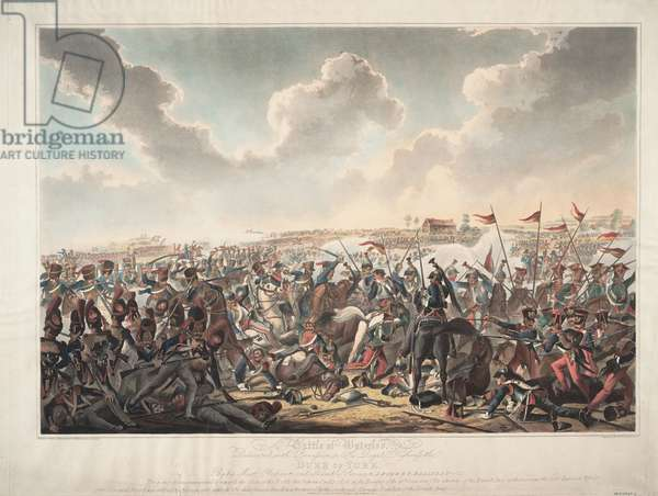 Battle of Waterloo, 1815 (colour aquatint)