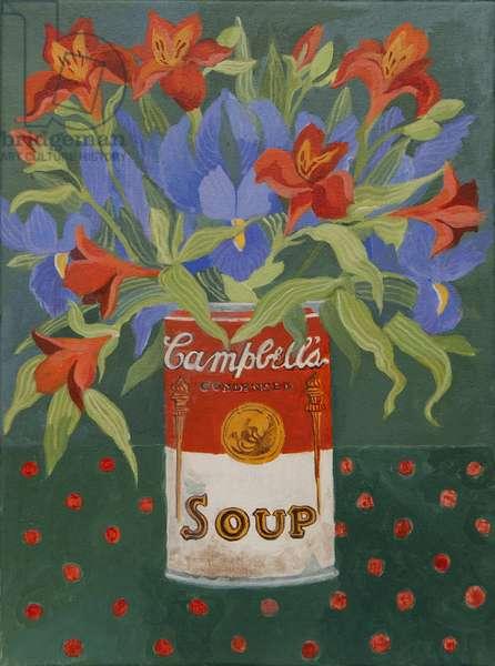 Iris and alstromeiria in Campbell's soup can (acrylic)