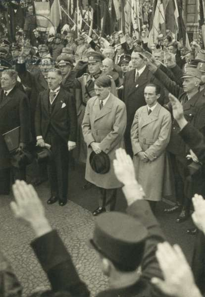 German Chancellor Adolf Hitler and members of his government at the Nazi youth rally in the Lustgarten, Berlin, 1 May 1933 (b/w photo)