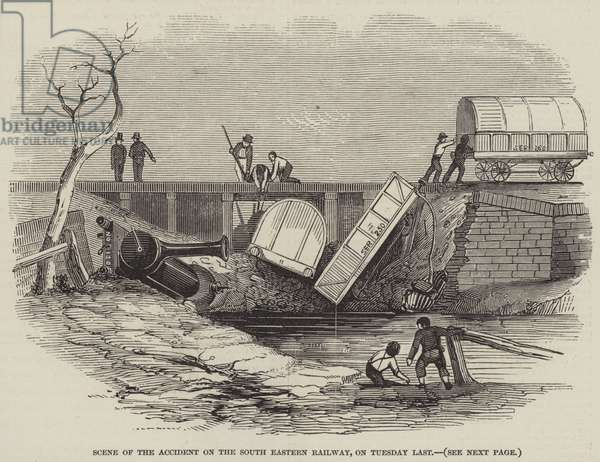 Scene of the Accident on the South Eastern Railway, on Tuesday Last (engraving)