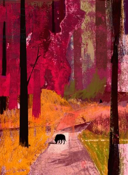 Black Dog, 2013, Collage on Paper
