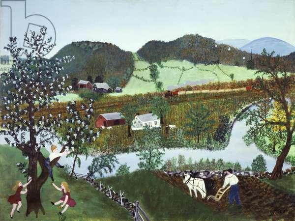 Hoosick River, Summer, 1952 (oil on pressed wood)