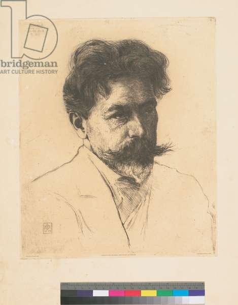 Portrait of Arthur Nikisch, 1904 (etching, ink on paper)
