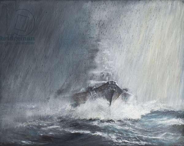 Bismarck 'through curtains of Rain Sleet & Snow' 22/05/1941. 2007 (oil on canvas)