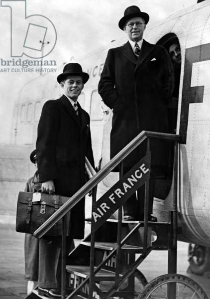 Young John Kennedy (22) with his father Joseph Patrick Kennedy, american ambassador in London, at Croydon airport going to Paris march 10, 1939