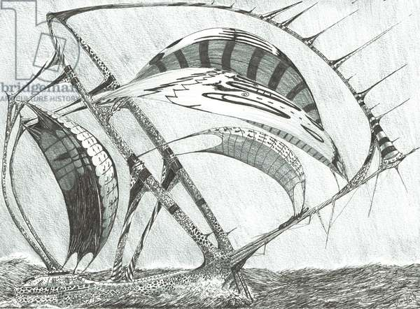 Storm Creators Laptev Sea, 2017 (ink and pencil on paper)