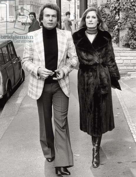Singer Dalida and Richard Chanfray, Milan, 1975