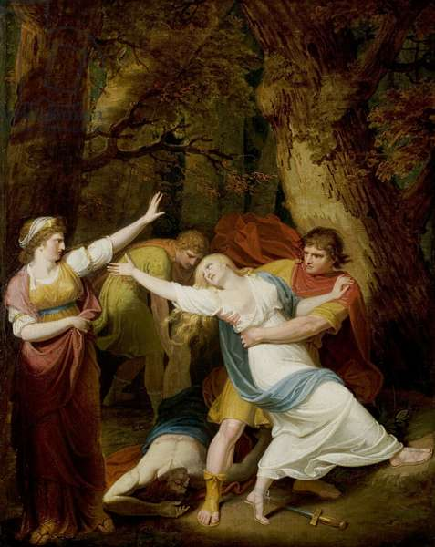 'Titus Andronicus', Act II, Scene 3, Tamora, Lavinia, Demetrius and Chiron (oil on canvas)